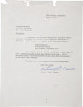 Music Memorabilia:Autographs and Signed Items, Fats Domino Signed Contract....