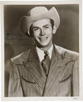 Music Memorabilia:Autographs and Signed Items, Hank Williams Signed Photo.... (Total: 3 Items)