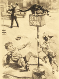 EDWARD D'ANCONA (American, 20th Century-) Safety Zone Charcoal on paper 14 x 11 in. Signed low