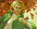 Pin-up and Glamour Art, ARTHUR SARON SARNOFF (American, 1912-2000). Portrait inGreen. Oil on board. 24 x 30 in.. Signed lower right. ...