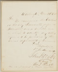 "Autographs:Statesmen, Sam Houston and Thomas Rusk Letter Signed. One page, 8"" x 10"",March 21, 1853, Washington. All four congressional delegates,..."