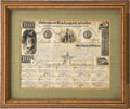 """Autographs:Statesmen, Mirabeau Lamar Government Bond Signed as president of the Republicof Texas. One page with ten coupons, 9.75"""" x 7.5"""", Octobe..."""