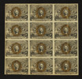 Fractional Currency:Second Issue, Fr. 1232 5¢ Second Issue Uncut Block of Twelve. Extremely Fine....