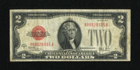 Fr. 1503 $2 1928B Legal Tender Note. Fine. This is an evenly circulated example of the scarcest $2 Legal. The edges are...