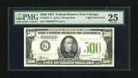 Fr. 2201-G $500 1934 Light Green Seal Federal Reserve Note. PMG Very Fine 25. If you just want a $500 to impress your fr...