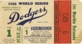 Baseball Collectibles:Tickets, 1956 World Series Game 1 Ticket Stub. With New York at the centerof the baseball world once again as the Brooklyn Dodgers ...