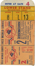 Baseball Collectibles:Tickets, 1953 World Series Game 2 Ticket Stub. The 1953 World Series saw aclassic New York matchup as the Brooklyn Dodgers took on...