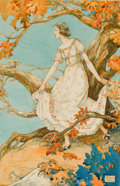 Mainstream Illustration, HENRY CLARENCE PITZ (American, 1895-1976). Girl in Autumn.Watercolor on board. 12 x 9 in.. Signed lower right. ...