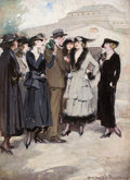 Mainstream Illustration, CLARENCE F. UNDERWOOD (American, 1871-1929). Group of Women anda Man. Gouache on board. 30 x 22 in.. Signed lower right...