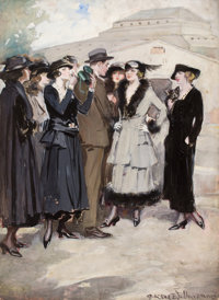 CLARENCE F. UNDERWOOD (American, 1871-1929) Group of Women and a Man Gouache on board 30 x 22 in