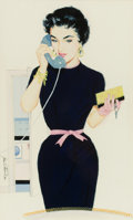 Pin-up and Glamour Art, JOHN FERNIE (American, b. 1945). Pin-Up on the Phone.Gouache on board. 16.5 x 10 in.. Signed lower left. ...