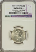 Coins of Hawaii: , 1883 25C Hawaii Quarter--Improperly Cleaned--NGC. UNC Details. NGCCensus: (4/652). PCGS Population (7/1021). Mintage: 500,...