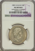 Coins of Hawaii: , 1883 50C Hawaii Half Dollar--Improperly Cleaned--NGC. AU Details.NGC Census: (19/227). PCGS Population (46/320). Mintage: ...