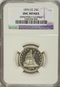 Seated Quarters: , 1876-CC 25C --Improperly Cleaned--NGC. UNC Details. NGC Census:(3/136). PCGS Population (3/140). Mintage: 4,944,000. Numism...