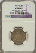 Seated Quarters: , 1869-S 25C --Improperly Cleaned--NGC. VF Details. NGC Census:(0/18). PCGS Population (2/34). Mintage: 76,000. Numismedia Ws...