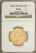 Liberty Eagles: , 1850 $10 Large Date XF45 NGC. NGC Census: (83/219). PCGS Population(37/87). Mintage: 291,451. Numismedia Wsl. Price for NG...