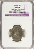 Proof Seated Quarters: , 1870 25C --Improperly Cleaned--NGC. Proof. NGC Census: (2/99). PCGSPopulation (7/132). Mintage: 1,000. Numismedia Wsl. Pric...