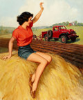 Paintings, WALT OTTO (American, 1895-1963). Pin-up on Haystack. Gouache on board. 37.75 x 30.5 in.. Signed lower right. ...