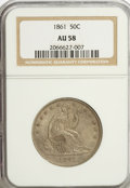 Seated Half Dollars: , 1861 50C AU58 NGC. NGC Census: (55/203). PCGS Population (34/211).Mintage: 2,888,400. Numismedia Wsl. Price for NGC/PCGS c...