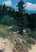 Western, OLEG STAVROWSKY (Russian/American, b. 1927). Hillside, circa 1980. Oil on canvas. 46 x 32 inches (116.8 x 81.3 cm). Sign...
