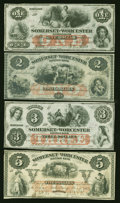 Obsoletes By State:Maryland, Salisbury, MD- Somerset and Worcester Savings Bank $1; $2; $3; and $5 Nov. 1, 1862. ... (Total: 4 notes)
