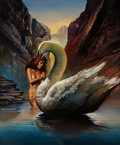 Paintings, BORIS VALLEJO (American, b. 1941). Leda and the Swan, 1989. Oil on board. 24 x 19.5 in.. Signed lower left. ...