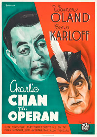 "Charlie Chan at the Opera (20th Century Fox, 1936). Swedish One Sheet (27.5"" X 39.25"")"