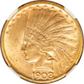 Indian Eagles, 1908-D $10 No Motto MS63 NGC....