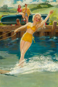 Pin-up and Glamour Art, FREDERIC KIMBALL MIZEN (American, 1888-1964). The WaterSkier. Oil on canvas. 37 x 25 in.. Signed center right. ...