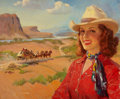 Pin-up and Glamour Art, FREDERIC KIMBALL MIZEN (American, 1888-1964). Cowgirl andStagecoach, Santa Fe Railroad ad illustration, c. 1930. Oilon...