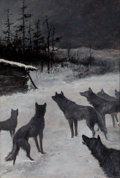 Mainstream Illustration, E. T. MERRILL (American, 20th Century). The Wolves. Oil onboard. 17.5 x 12 in.. Signed lower left. ...