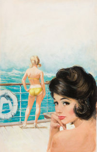 BRUCE MINNEY (American, b. 1928) Voluptuous Voyage, paperback cover, 1962 Watercolor on board 25