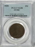 Bust Quarters: , 1828 25C 25/50C VG8 PCGS. PCGS Population (4/27). NGC Census: (1/11). Numismedia Wsl. Price for NGC/PCGS coin in VG8 : $30...