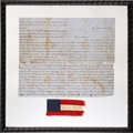 """Military & Patriotic:Civil War, Great Confederate """"Bible Flag"""" with Wonderful October 10, 1863 Letter of Transmittal from a New Orleans """"Belle"""" to a Soldier...."""