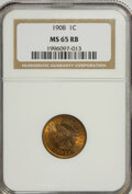 Indian Cents: , 1908 1C MS65 Red and Brown NGC. PCGS Population (88/1). Mintage: 32,327,988. Numismedia Wsl. Price for N...