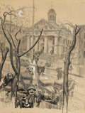 Mainstream Illustration, DEAN CORNWELL (American, 1892-1960). Courthouse, Flemington, NewJersey. Charcoal with wash on board. 17.25 x 13.5 in.. ...