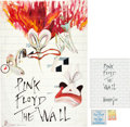 Music Memorabilia:Posters, Pink Floyd The Wall Promo Poster, Tour Booklet, BackstagePass, and Ticket Group (1980).... (Total: 4 Items)