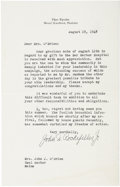 "Autographs:Celebrities, John D. Rockefeller Jr. Typed Letter Signed. Typed on one of thefour integral pages, 5"" x 8"", August 19, 1948, Seal Harbor,..."