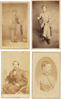 Photography:CDVs, Four Post-Civil War Cartes de Visite of three young soldiers in uniform in various poses. The fourth CDV is feat... (Total: 4 Items)