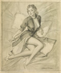 Pin-up and Glamour Art, HARRY EKMAN (American, 1923-1999). Boudoir Pin-Up sketch.Graphite on paper. 21 x 17.5 in.. Signed lower right. ...