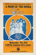 Music Memorabilia:Posters, Queen A Night at the Opera Saginaw Civic Center ConcertPoster (Brass Ring Productions, 1976)....
