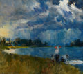Paintings, HOWARD CHANDLER CHRISTY (American, 1872-1952). Stormy Landscape with Figures. Oil on canvas. 31.5 x 35.5 in.. Signed low...