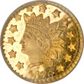 California Fractional Gold, 1876 50C Indian Round 50 Cents, BG-1060, High R.5, MS65 Deep MirrorProoflike NGC....