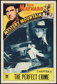 """Mystery Mountain (Mascot, 1934). One Sheet (27"""" X 41"""") Chapter 6 -- """"The Perfect Crime."""" Serial"""