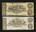 Confederate Notes:1863 Issues, T58 $20 1863.. T59 $10 1863.. ... (Total: 2 notes)
