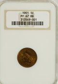 Proof Indian Cents, 1901 1C PR67 Red and Brown NGC....