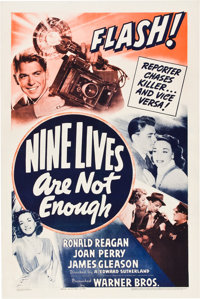 "Nine Lives are Not Enough (Warner Brothers, 1941). One Sheet (27"" X 41"")"