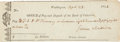 """Autographs:U.S. Presidents, James Madison Check Signed while serving as the fourth president. Partly printed, 7.25"""" x 2.5"""", April 23, 1814, to F. J. B. ..."""