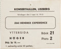 Music Memorabilia:Tickets, Jimi Hendrix Experience Swedish Concert Ticket Stub....