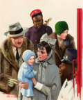 Mainstream Illustration, LESLIE THRASHER (American, 1889-1936). Departure at the TrainStation, Liberty magazine cover, February 2, 1929. Oil on ...